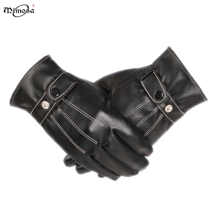 Wholesale OEM fashion Stylish motorcycle driving Winter keep warm Mens PU Leather touchscreen Gloves for men for sale