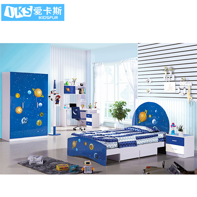 kids bed cartoon bedroom solid wood bed wardrobe blue study desk for sale