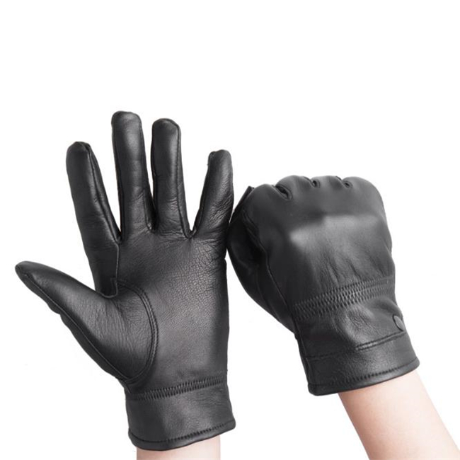 Fashion goatskin genuine leather touch screen gloves with rabbit trimmed cuff