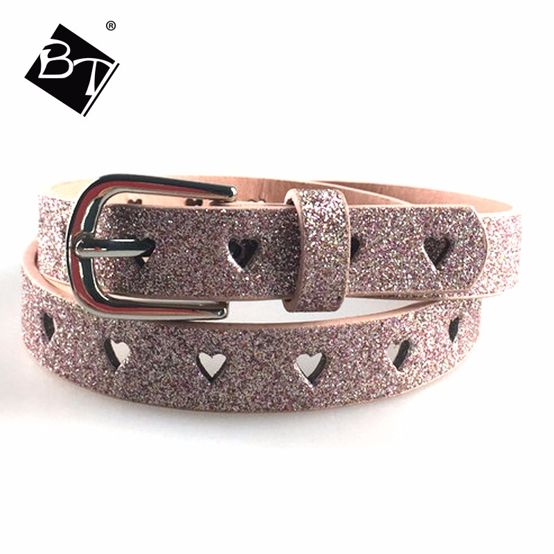 pink bling sweet-heart punching girl kids belts for sale