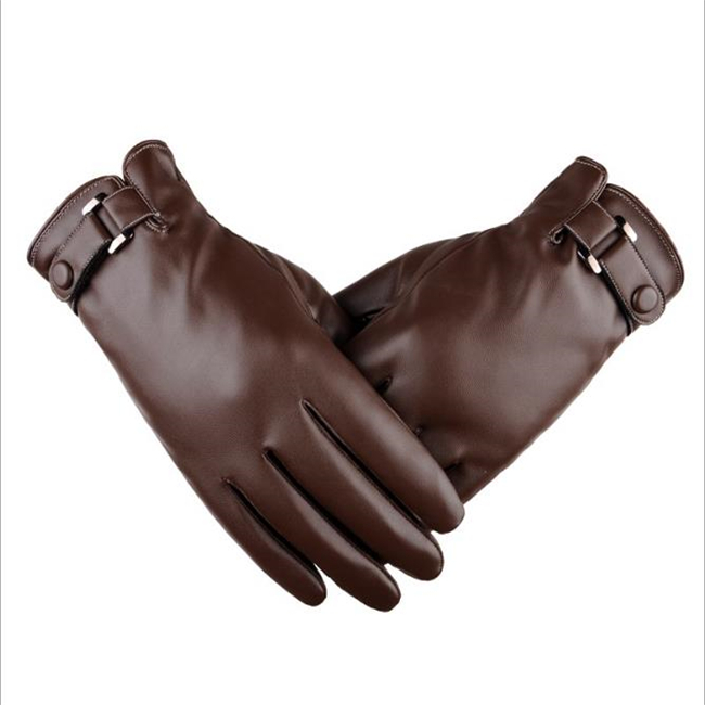Winter Warming Water-based PU Leather men's Touch Screen Gloves