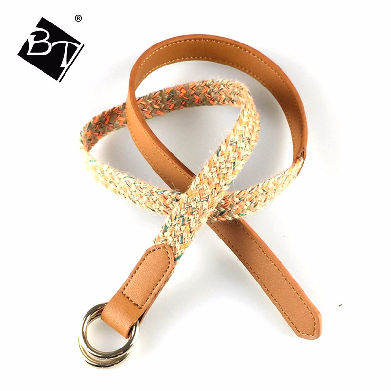 cheap eco-friendly brown braid pu leather hot kids belt for sale