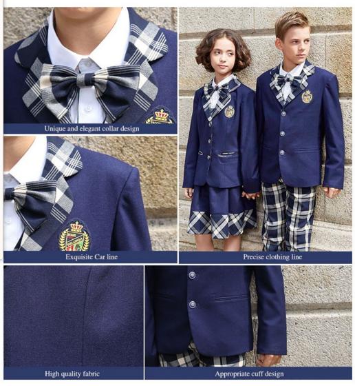 Custom Design Beautiful All Grade School Uniform Navy Blue Suit school dress for sale