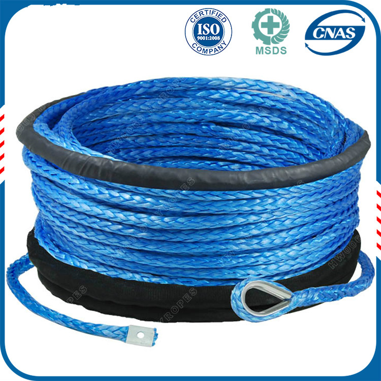 spectra fiber winch rope, synthetic winch rope 8mm, 4 utv winch line for sale