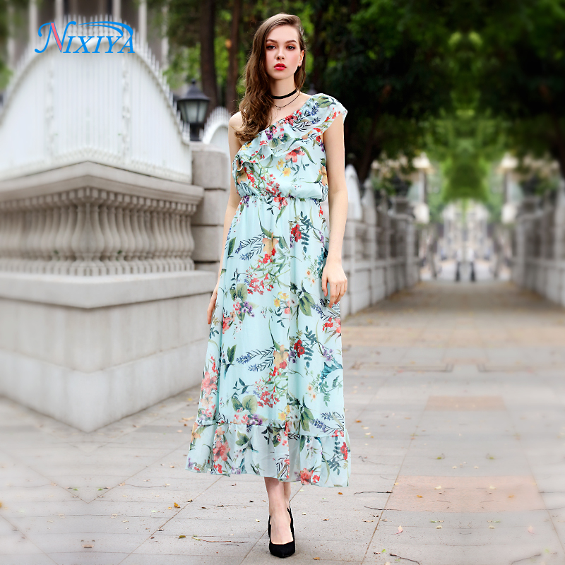One shoulder frill green flower print women dress for 2018 for sale