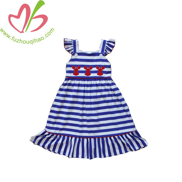 blue stripe sleeveless girl ruffle dress soft cotton with applique summer girl boutique clothes for sale