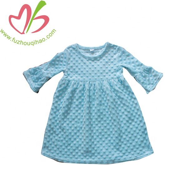 blue minky dot soft hand girl dress fashion boutique princess kids dress with factory price for sale