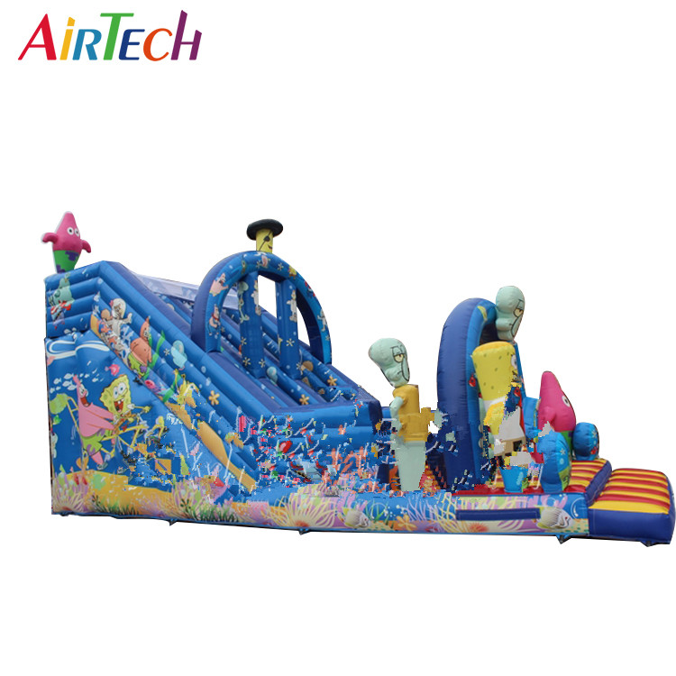 Commercial cartoon inflatable slide with high quality full printing for sale