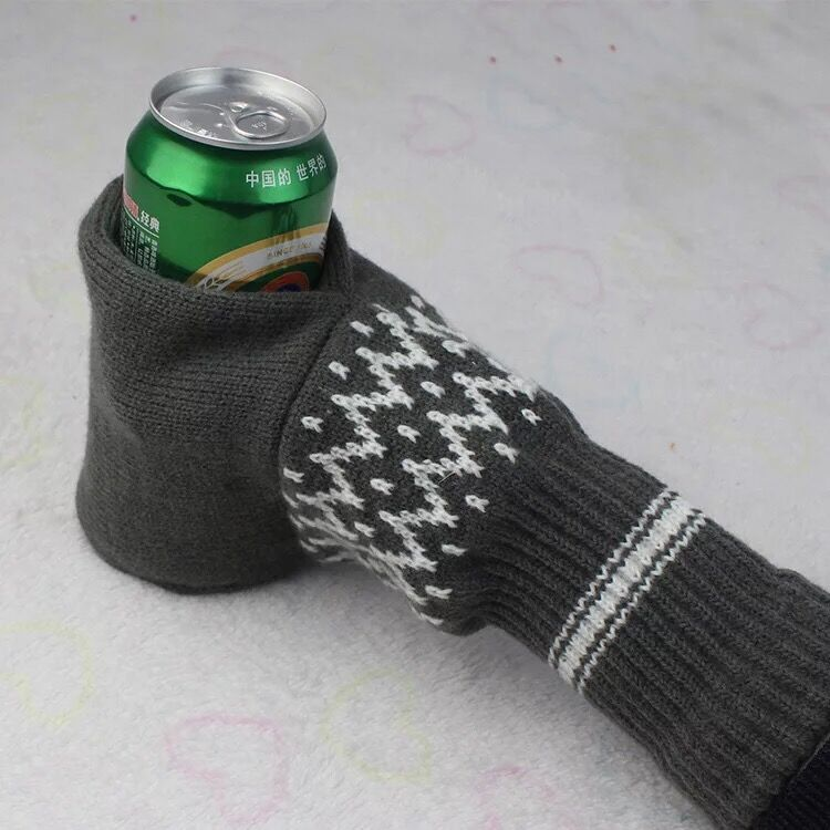 custom beer jacquard knitted mittens can hold cooler bottle for sale