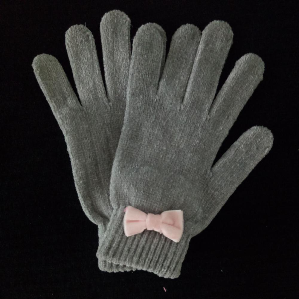 new style fashion lady pink knitted chenile glove with bowknot for sale