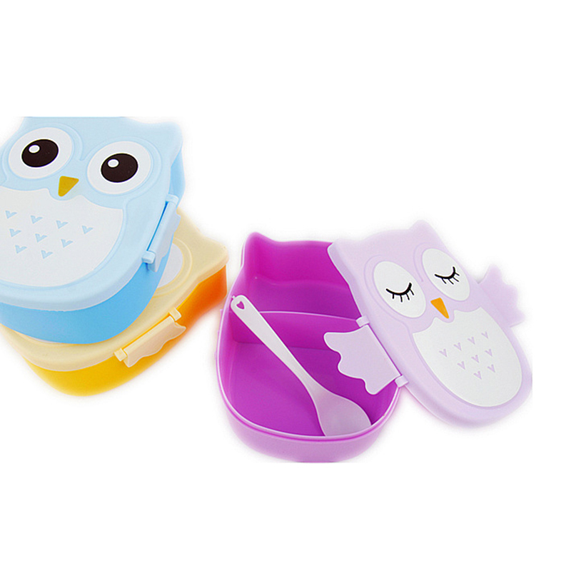 Cartoon Owl Lunch Box Plastic Food Storage Container Colorful Bento Box Microwave Oven Cutlery Food Dining Tools sale