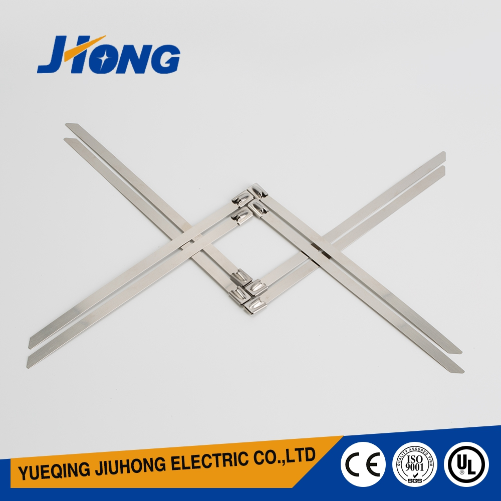 Outdoor use UV rated ball-lock stainless steel metal adhesive cable ties for sell