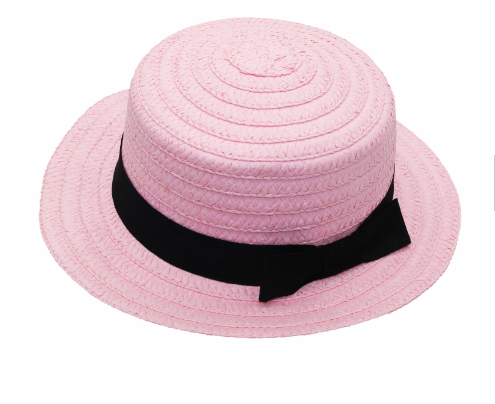 wholesale promotional children glirs pink boater straw hats with band custom for sale