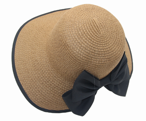 ladies summer sun hats wide brim open design with bowknot for sale