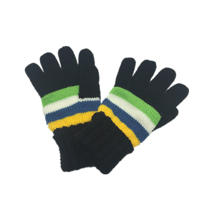 kids Knitted Five Finger Gloves Acrylic Winter Warm Gloves for sale