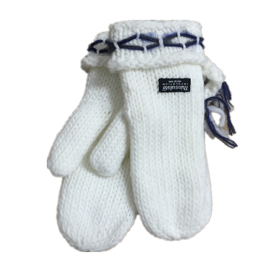 China Wholesale Market Winter Knitted 100% polyester knitted mittens for sale