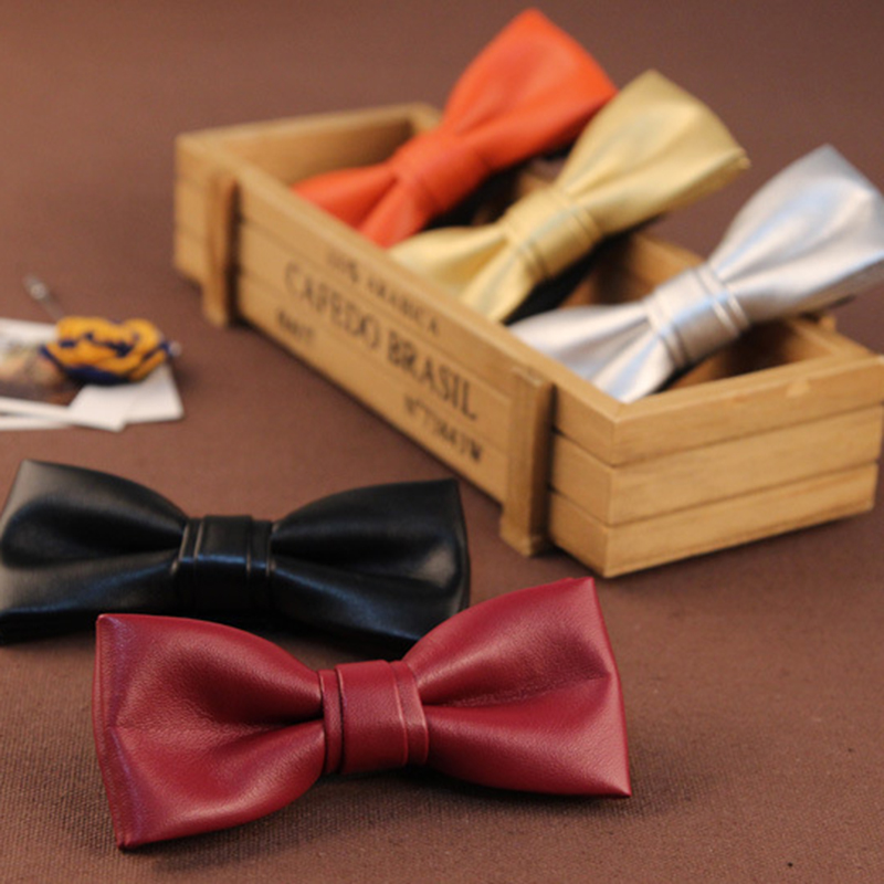 green odm leather orange neck bow tie for sale
