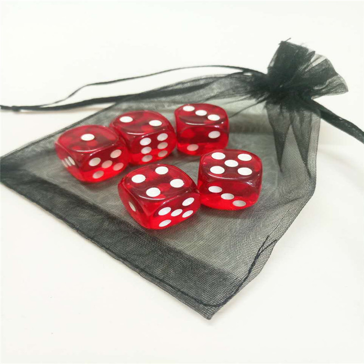 custom 6 sided transparent dot dice plastic casino dice of different color for sale