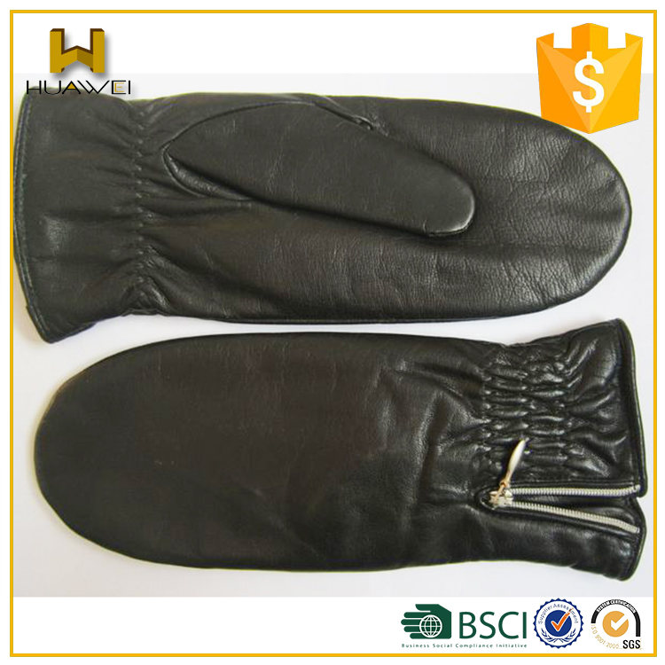 Warm Fur Lined Black Leather Mittens Sheepskin Women Mittens Leather with Fold on the Cuff for