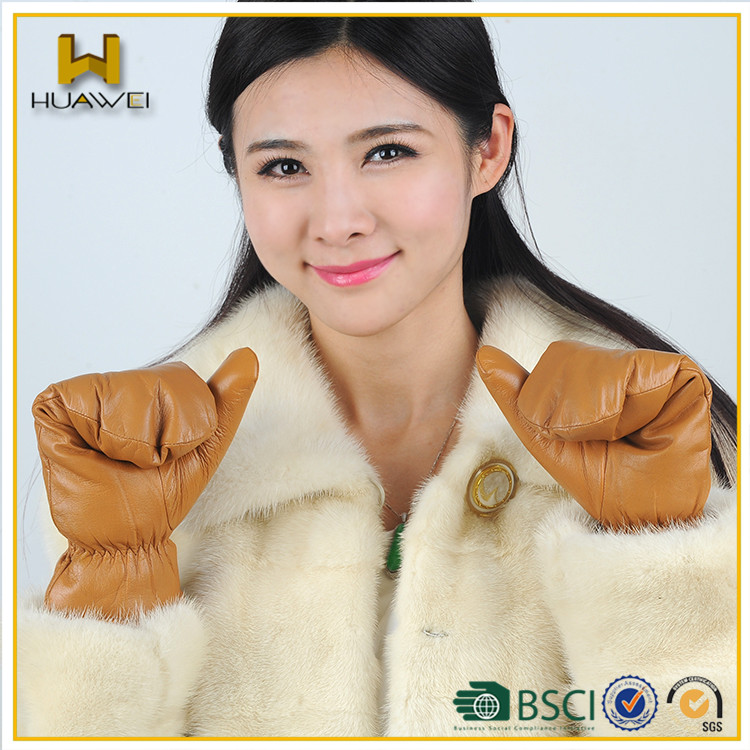 women/ ladies leather mittens gloves for autumn winter for sale