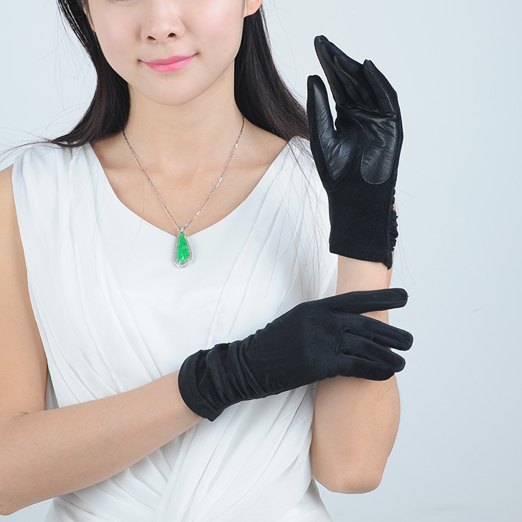 Women Handmade Cheap Wool Gloves with Black Leather on the Palm for sale