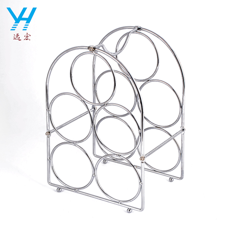 YH002 New Design 5 Bottle Tabletop Display Chrome Metal Wine Rack