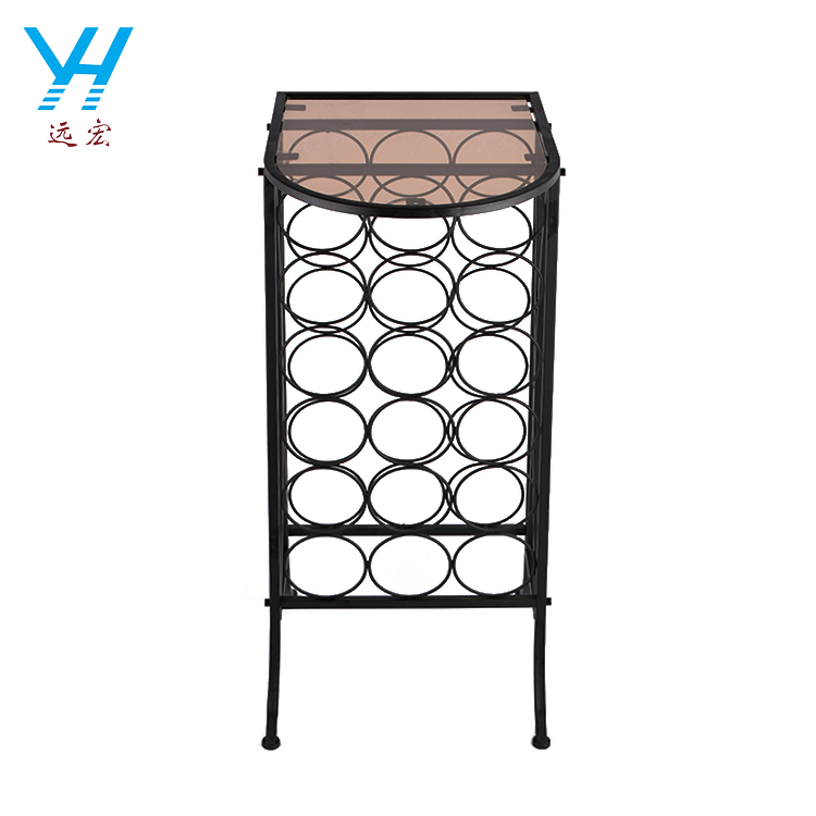 YH004 Fashion design metal wine rack with glass table top