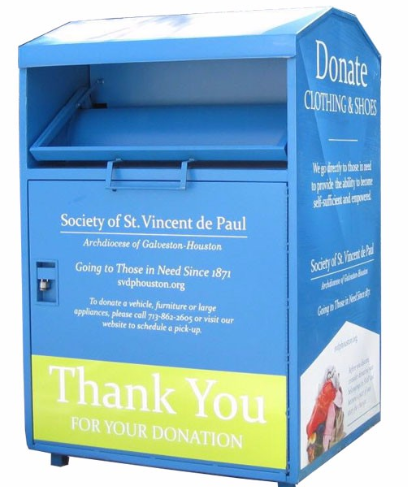 High quality metal donation bin for used clothes for sale