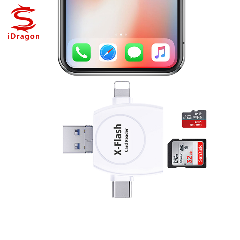 USB 3.0 Memory Card Reader 3 in 1 Super Speed TF Card Reader Adapter OTG Function for Computer Cell Phone