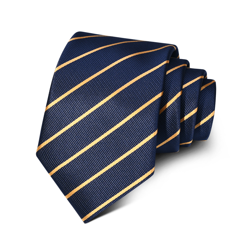 Wholesale cheap polyester Tie hidden blue gold striped men's Necktie for sale
