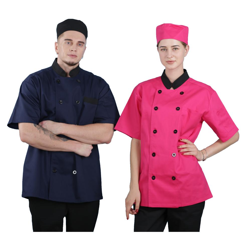 Custom summer Short sleeve double-breasted chef uniform unisex Hotel bar chef uniform on Sale