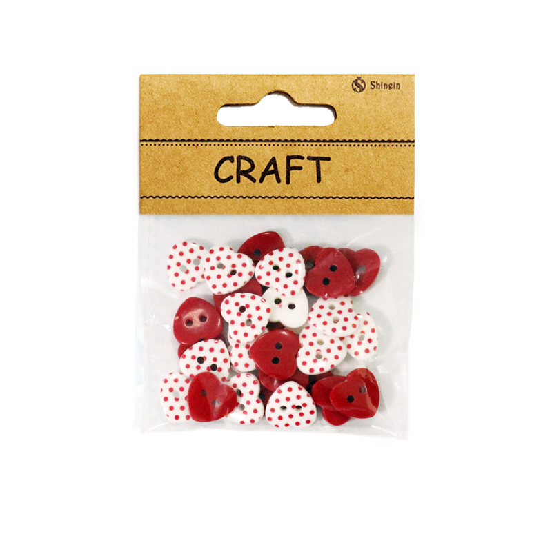 Popular small packaging 20L Dot Printed Mixed Red Heart Shape Resin Button For Girls for sale