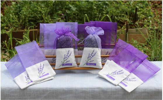 Custom organza lavender sachets linen lavender bag for sale Air Fresheners