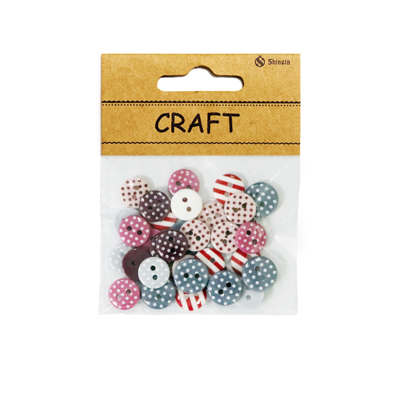 Dot Strip Printed Mixed Color and Sized 2-Holes Decorative Button for Clothing,For Scrapbooking With Small Packaging for sale