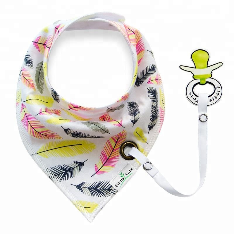 SD-NZ13-18 double side triangular saliva towel with pacifier clip baby bib baby burp cloths for sale