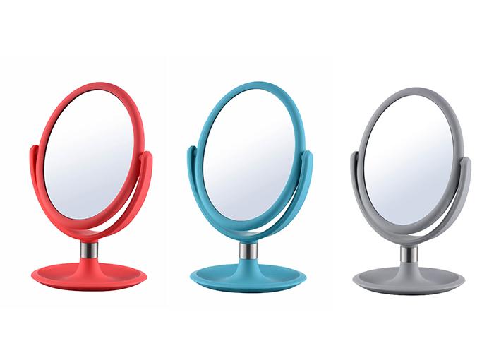 Bedroom bathroom colored oval shaped table plastic vanity makeup mirror sale
