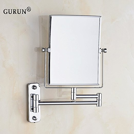 Bathroom double sided swivel magnifying wide wall mirror wall mounted makeup mirror sale