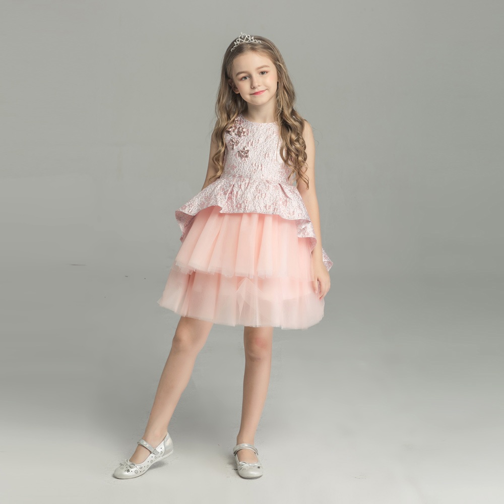 boutique pink ruffle girls elegant formal dress baby dresses for sale