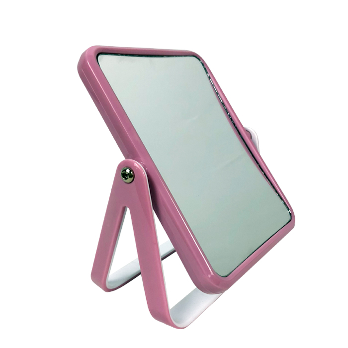 Plastic Square 3X Desktop Stand Up Travel Folding Make Up Mirror with Handle sale
