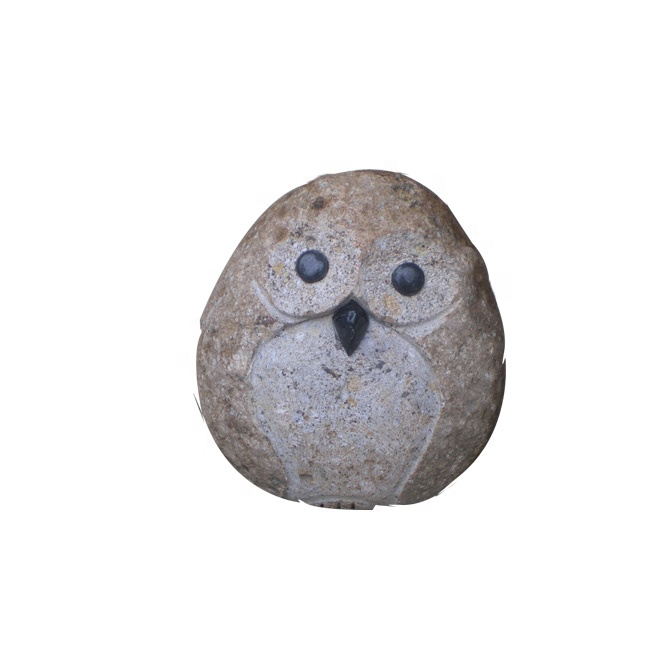 Elegant Carved Granite Happy Stone Owl