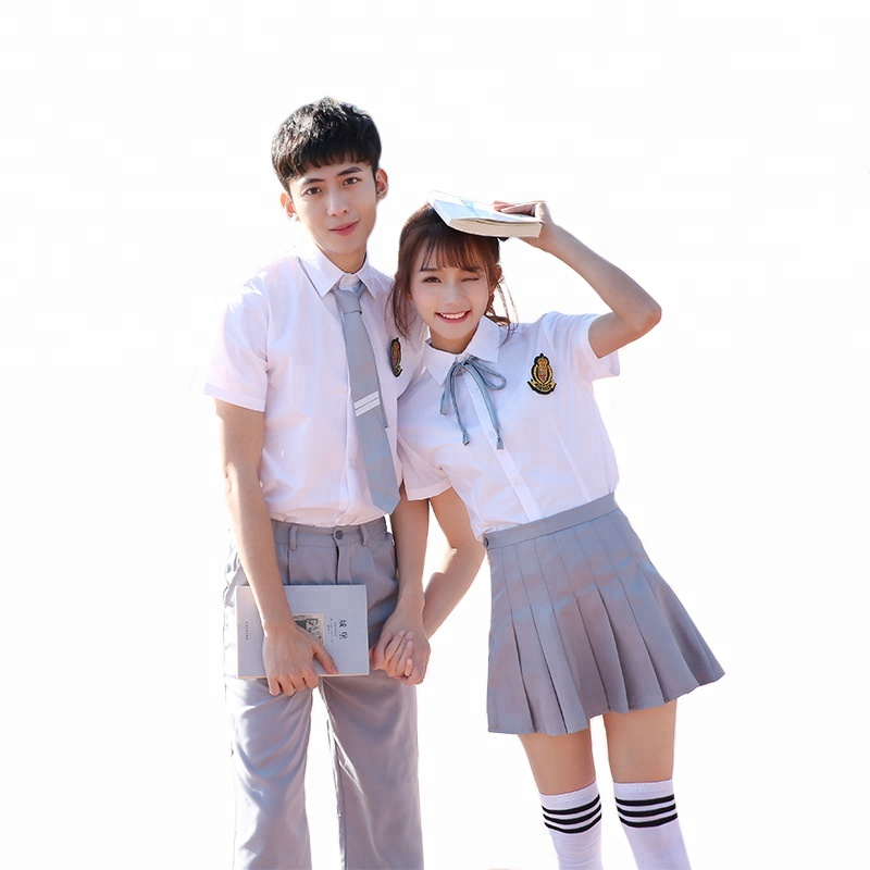 Cotton shirt + plaid girls skirt japanese high school uniforms design with pictures on Sale