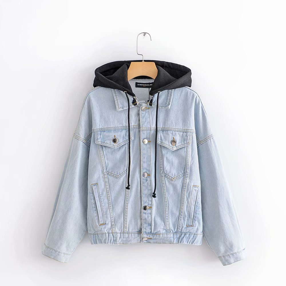 Fashion Women Hooded loose washed denim jacket top for sale