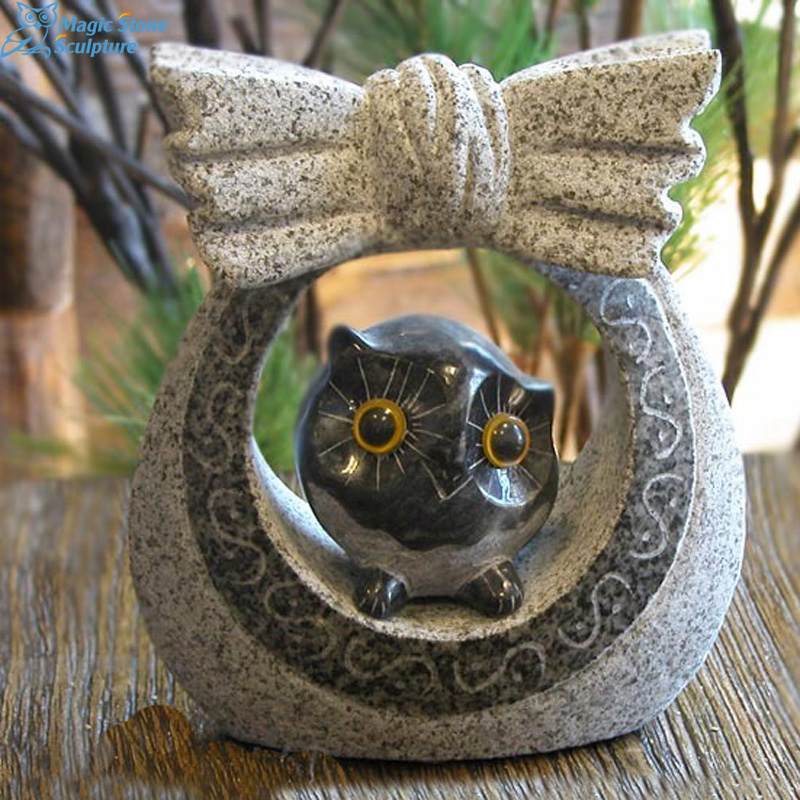 Home decoration granite owl figurine