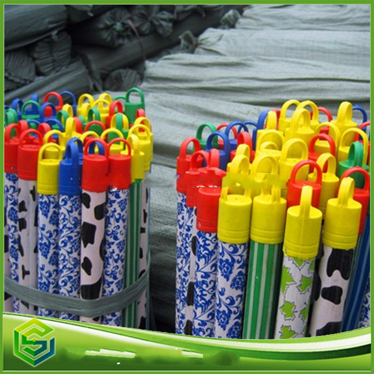 colorful cap plastic coated wooden handle for broom and mop sale