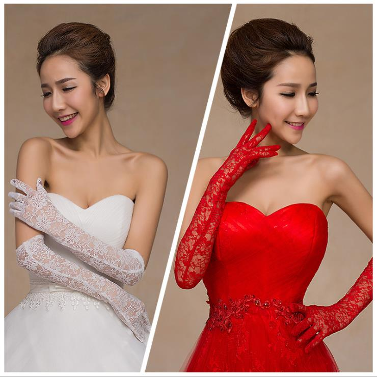 Satin whole finger long length lace applique wedding bridal lady glove for wholesale