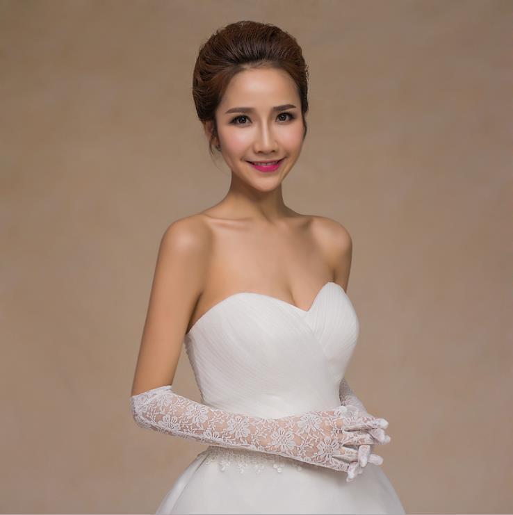 Satin whole finger long length lace applique wedding bridal lady glove for wholesale