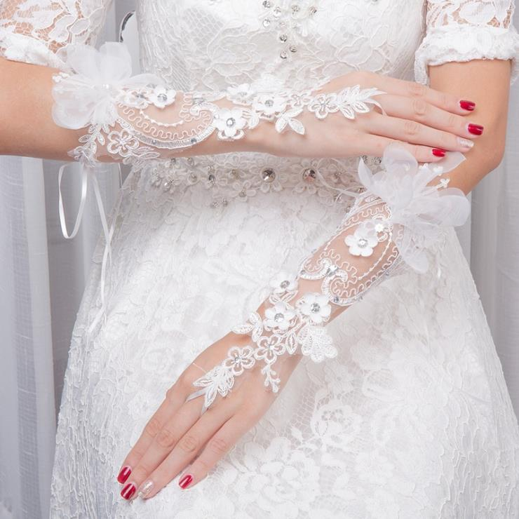 New design Luxury Wedding Bridal Long Lace Gloves on Sale