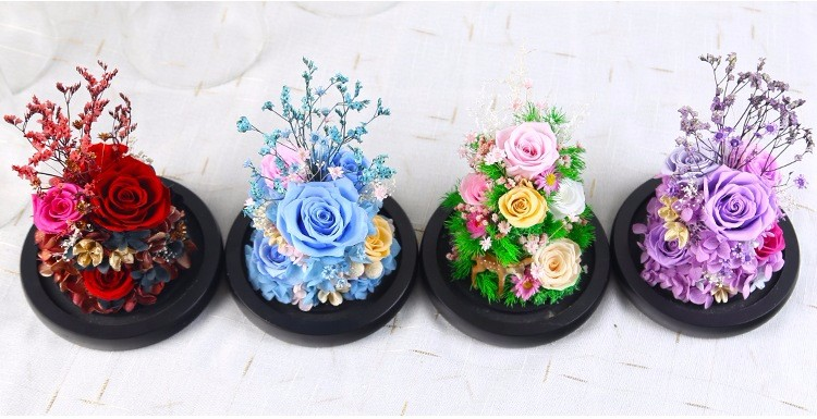 Prefect Christmas Day Gifts Everlasting Immortal Fresh Preserved Flower Rose in Glass Dome Sale