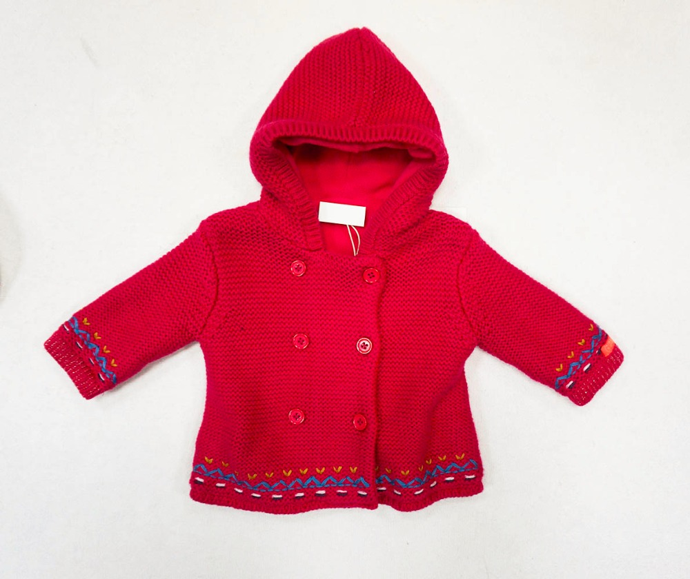 baby girl hoodie sweater coat winter jacquard knit cardigan for sale