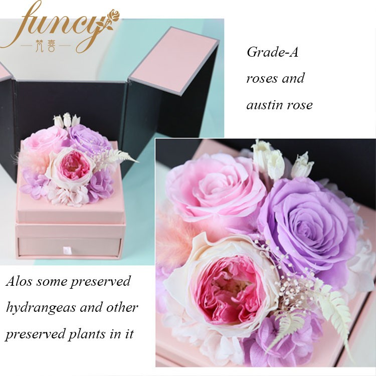 New Product Forever Rose Preserved Valentine Promotion Gift Roses in Gift Box Sale